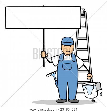 Cartoon window cleaner from the building cleaning service holds up a blank signboard