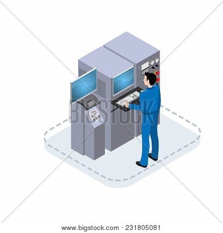 Worker Controls Processes In Production, Isometric Illustration