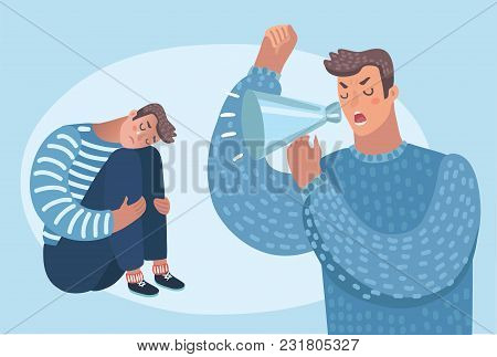 Vector Cartoon Illustration Of Two Men Fighting Angry. Man Shouting At Other Person6 Who Crying. Fam