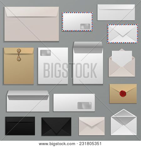Envelope Vector Blank Of Letter On Paper Mailing To Postal Mailers Address And Postcard Template Ill