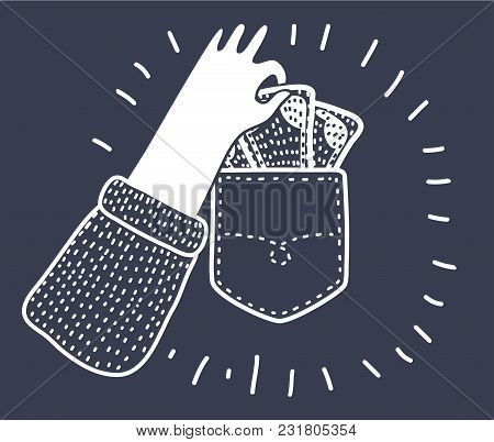 Vector Cartoon Funny Illlustration Of Pickpocket Hand Take Out Pocket Icon. Finance Elements. Simple