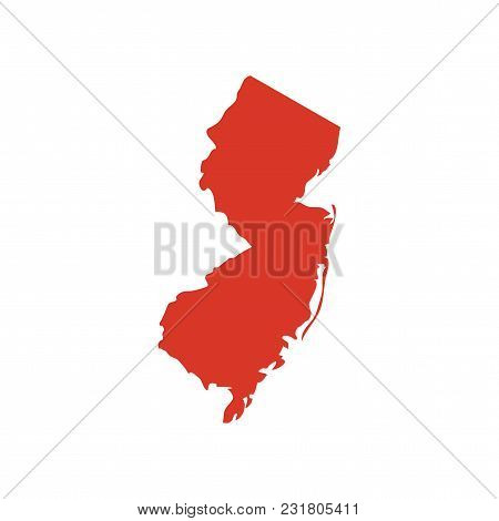 State Of New Jersey Vector Map Silhouette. Outline Nj Shape Icon Or Contour Map Of The State Of New