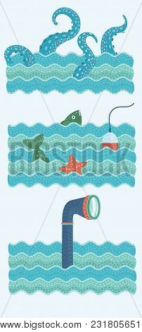 Vector Set Of Illustrations Of Fishing Trip, Octopus Tentacles, Fish, Float And Starfish And Perisco