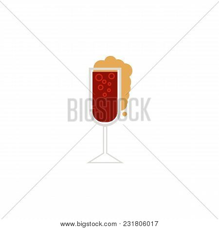 Vector Flat Glass Of Sparkling Alcohol Drink And Water Drops Mockup Closeup. Ready For Your Design I