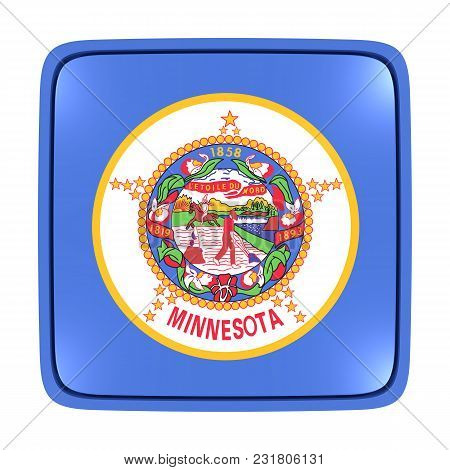 3d Rendering Of A Minnesota State Flag Icon. Isolated On White Background.