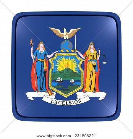 3d Rendering Of A New York State Flag Icon. Isolated On White Background.