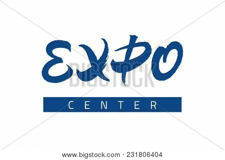 Expo Text Lettering. Vector Inscription With Brush Texture. Hand Drawn Typography