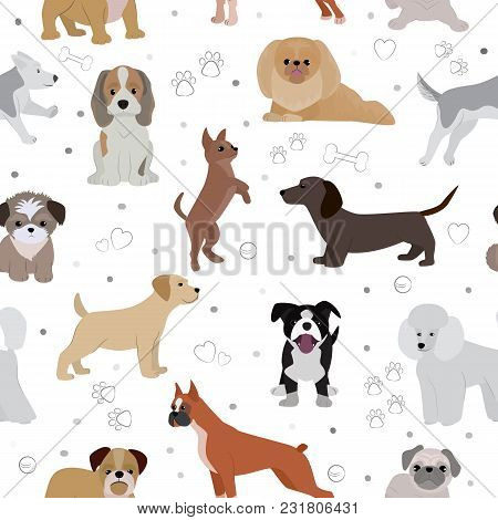 Dog Vector Cute Cartoon Puppy Illustration Home Pets Doggy Different Breed And Poses Bulldog, Hand S