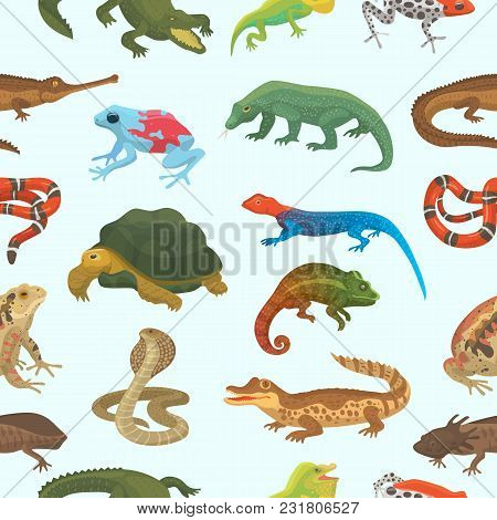 Vector Reptile Nature Lizard Animal Wildlife Wild Chameleon, Snake, Turtle, Crocodile Illustration O