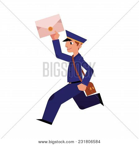 Cartoon Postman Cheerful Character Running Holding Letter Or Mail And Shouder Bag. Man In Profession