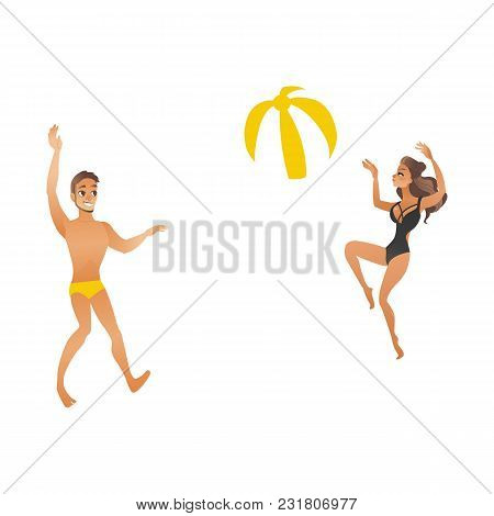 Young Couple Play Beach Ball. Beautiful Smiling People With Suntan In Swimsuits Jump Playing Volleyb