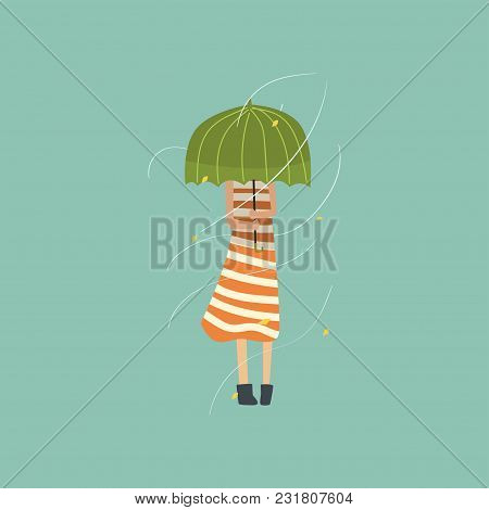 Girl Freezing And Shivering Under Green Umbrella On A Very Windy Day Outdoors Vector Illustration, F