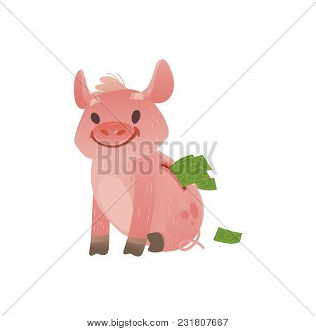 Cartoon Piggy Bank Icon. Cheerful Pig Money Box Full Of Savings With Happy Facial Expression. Busine