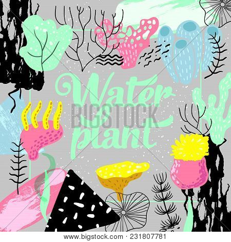 Underwater Design In Childish Style. Kids Background With Seaweeds, Corals And Abstract Elements For