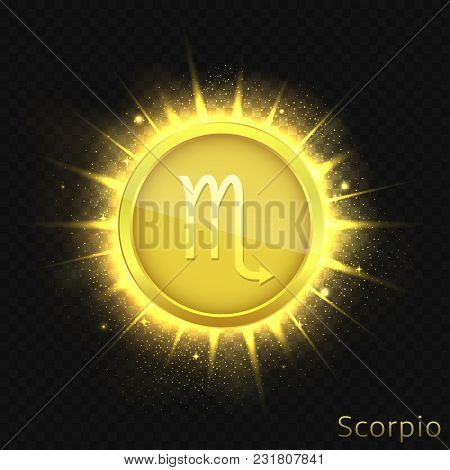 Scorpio Sign. Horoscope Symbol With Sparkles, Glitters And Stars