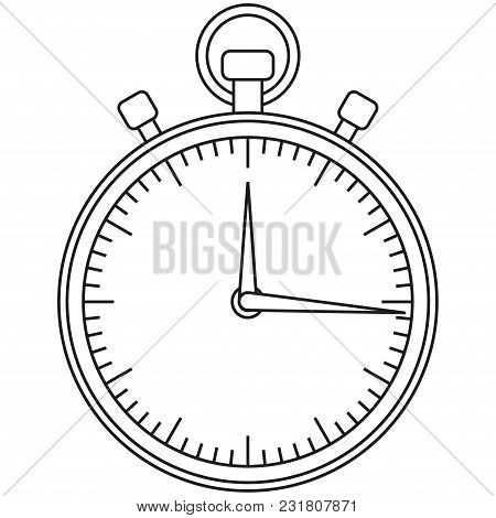 Line Art Black And White Sport Timer Icon. Coloring Book Page For Adults And Kids. Sport Vector Illu
