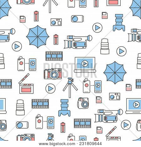 Vector Seamless Pattern With Decorative Photographic Symbols, Icons. Photography Background, Wrappin