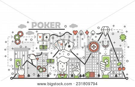 Poker Card Game Concept Vector Illustration. Modern Thin Line Art Flat Style Design Element With Gam