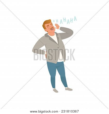Cheerful Man Laughing Out Loud Vector Illustration Isolated On A White Background.