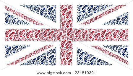 Great Britain State Flag Composition Composed Of Gay Symbol Elements. Vector Gay Symbol Design Eleme