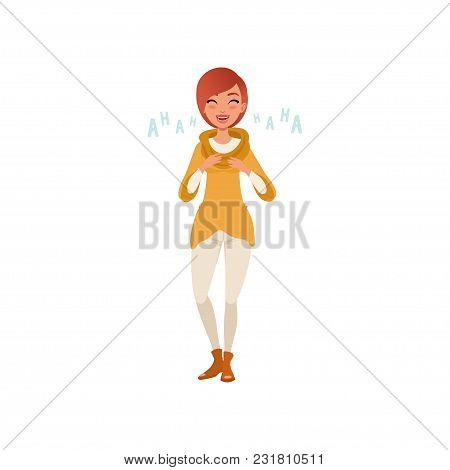 Happy Young Redhead Woman Laughing Out Loud Vector Illustration Isolated On A White Background.
