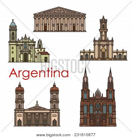 Argentina Architecture Landmarks And Sightseeing Building Line Icons. Vector Set Of Argenitinian Chu