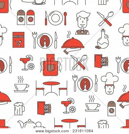 Vector Seamless Pattern With Decorative Restaurant Service, Food, Tableware Symbols, Icons. Restaura