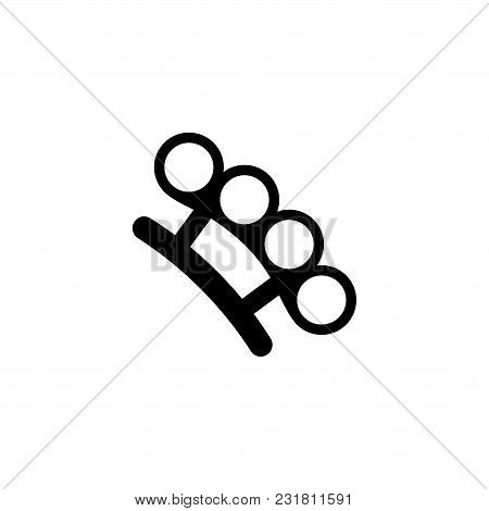 Brass Knuckles. Flat Vector Icon. Simple Black Symbol On White Background