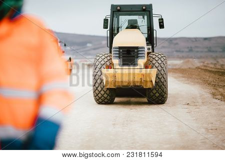 Highway And Road Construction Site Details - Working Tandem Vibration Machinery
