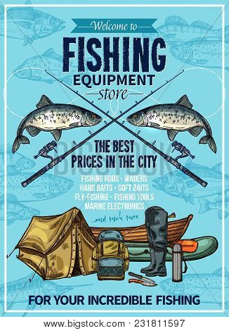 Fishing Store Sketch Poster Design Of Fisherman Equipment For Fishing. Vector Fisher Rod And Inflata