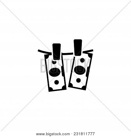Banknotes Hanging On A Clothesline. Flat Vector Icon. Simple Black Symbol On White Background