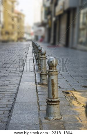Small Poles Protection Against Parking In The Big Cities