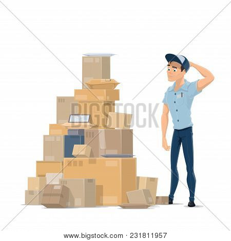 Post Mail Delivery Flat Icon Of Postman And Parcels Stack For Shipping. Vector Design Of Mailman In