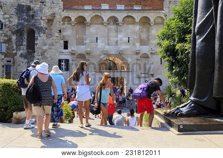 Scene At The Golden Gate Of The Diocletian's Palace, Split, Croatia