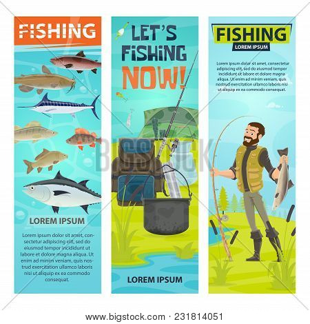 Fishing And Fisherman Banners Of Fisher With Fish Catch And Equipment. Vector Design Of Fishing Rod