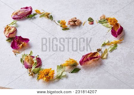 Composition Of Heart-shaped Petals Isolated On White Background, Close-up, Overhead, Selective Focus