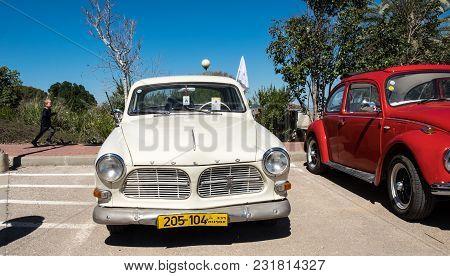 Beit Nir, Israel - March 17, 2018: Volvo Vintage Car Presented On Oldtimer Car Show