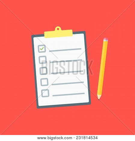 Claim Form. Flat Style Isolated On A Red Background. Vector Illustration.
