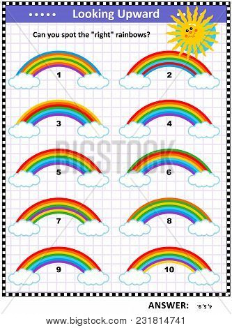 Visual Puzzle Or Picture Riddle For Children: Find The Right Rainbows. Answer Included.