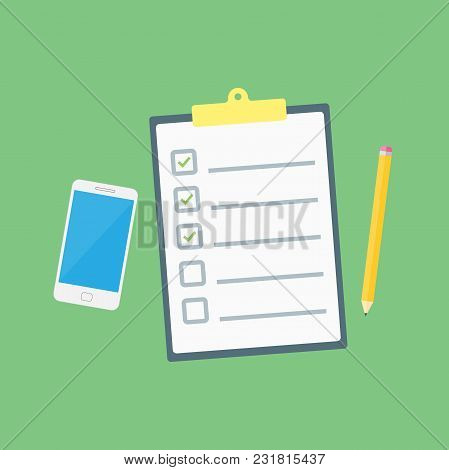 Claim Form. Flat Style Isolated On A Green Background. Vector Illustration.