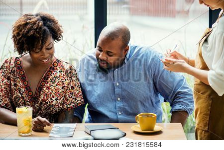 Couple dating in the restaurant