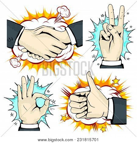 Vector Illustration Sketch, Of Comic Style Colorful Icons, Set Hand, Handshake, Like And Okay On The