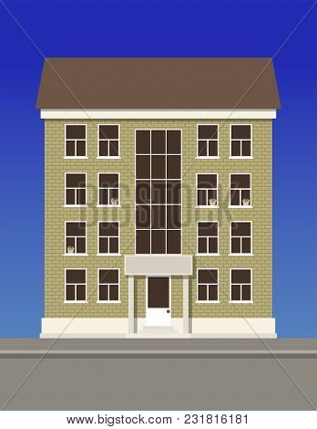 A Multi-storey Residential Building Made Of Beige Brick. Vector Illustration.
