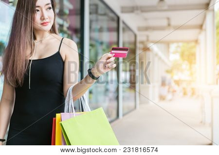 Shopping Online Concept With Woman Using Laptop For Shopping Online.