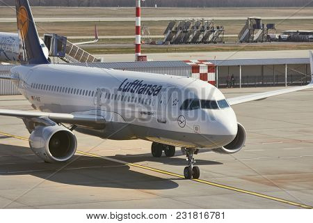 BUDAPEST, HUNGARY - MARCH 23, 2017: Lufthansa Airbus A320 airliner arriving at Budapest. Lufthansa is the biggest airline of Europe