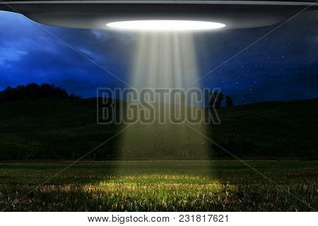 Ufo Alien Space Ship Flying At Night