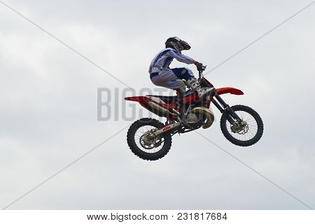 Tyumen, Russia - June 10, 2009: Red Bull X-fighters Exhibition Tour. Freestyle Motocross. Sportsman