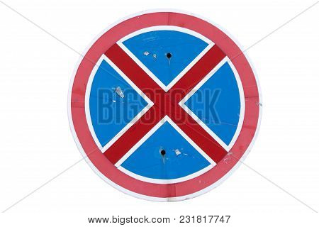 Road Sign 'no Stopping' Isolated On White.