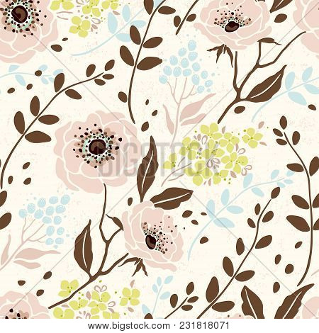 Seamless Retro Pattern With Flowers Anemone, Hydrangea, Branches And Leaves. Vector Floral Illustrat