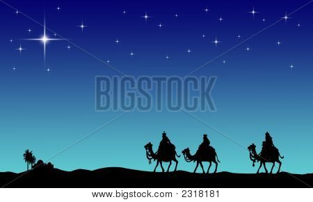 Three wisemans and the star of Bethlehem poster